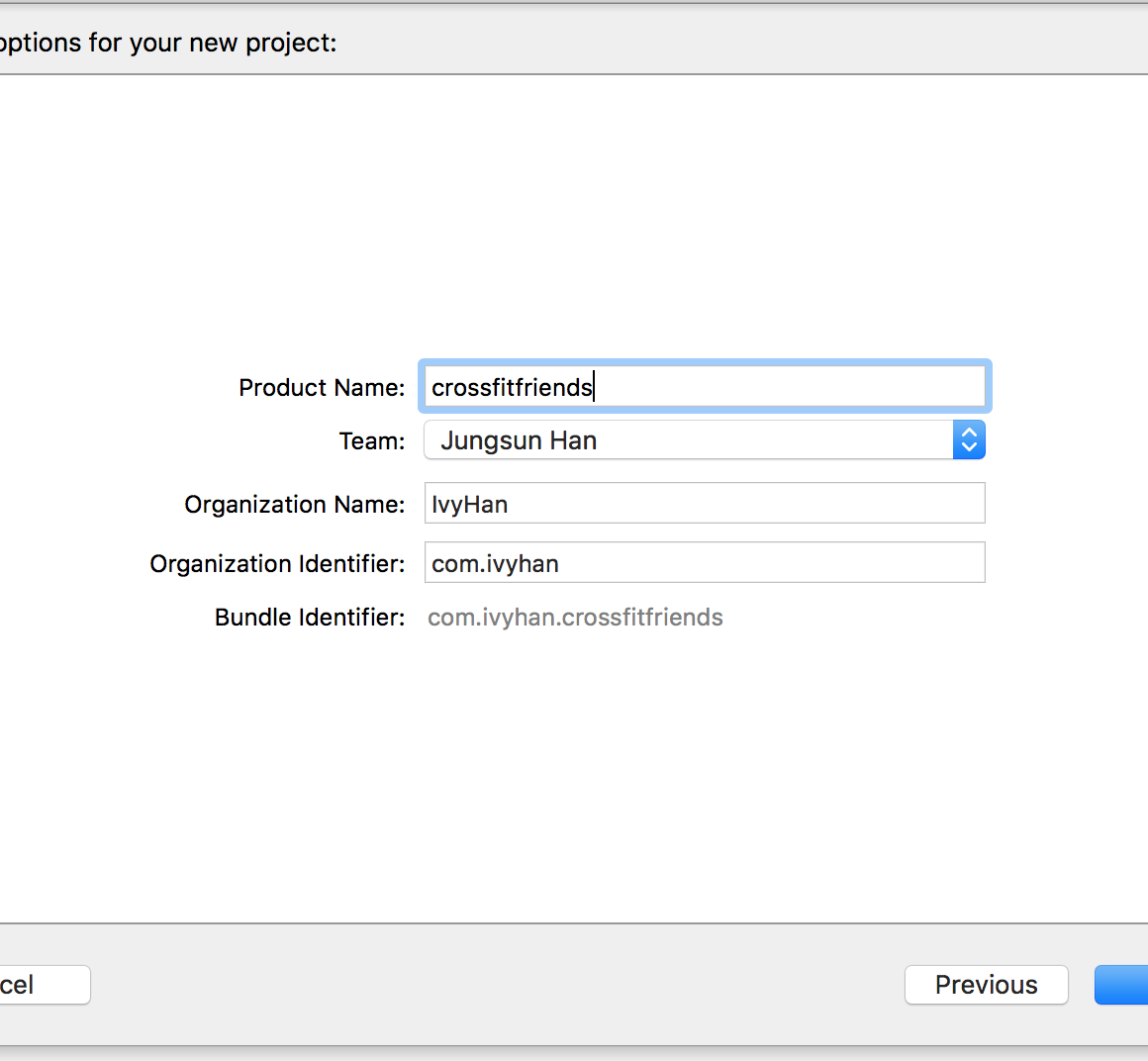 Create new app in XCode